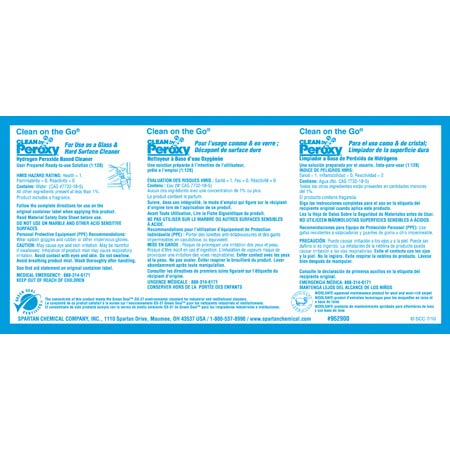 Spartan Secondary Label For Clean By Peroxy Glass Cleaner