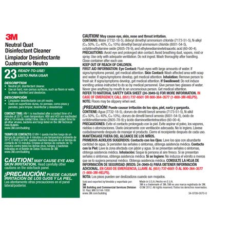 3m 23 Twist N Fill 174 Neutral Quat Disinfectant Label